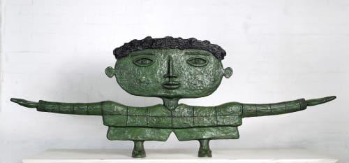 Sculptures by Dean Bowen seen at Heide Museum of Modern Art, Bulleen - Aeroplane Boy