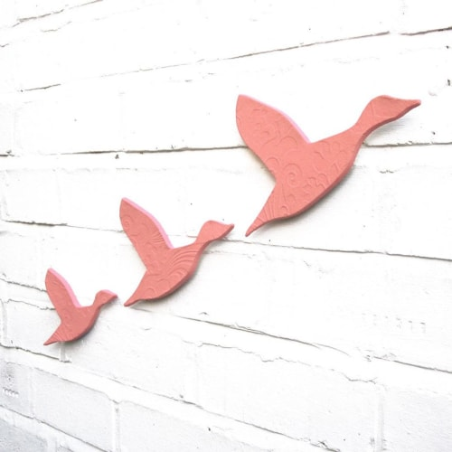 Art & Wall Decor by Elizabeth Prince Ceramics seen at Creator's Studio, Manchester - Flying Ducks Blush Pink Set of 3