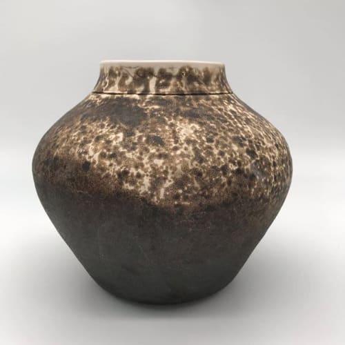 Vases & Vessels by Kingfisher Potters seen at Creator's Studio, Philadelphia - Obvara Fired Brown Vase