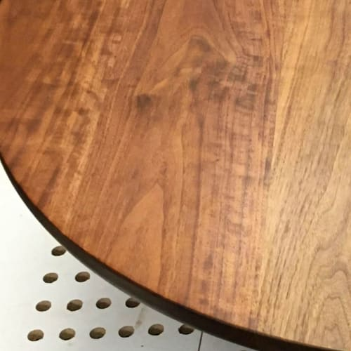 Tables by Workshop seen at Private Residence, Portland - Worktable 03   Custom walnut coffee table with X-base