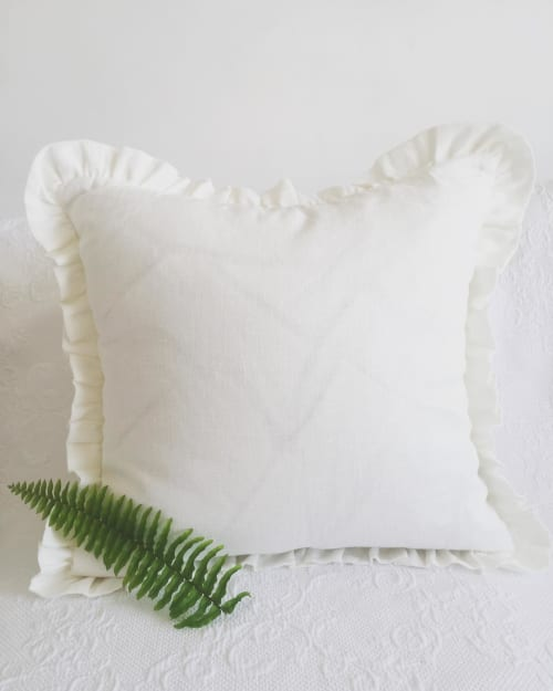Pillows by LinenDreamsByLada seen at Private Residence, Split - Ruffled off white pillow made from stonewashed linen fabric