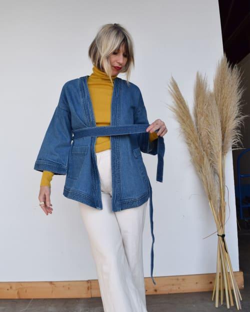 Apparel & Accessories by ALEX STEELE seen at Makers WorkSpace, Berkeley - Cobra Kimono denim jacket