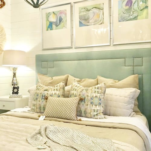 Pillows by Laura Park Designs seen at Private Residence, Panama City Beach - Sea Glass Linen Cotton Pillows