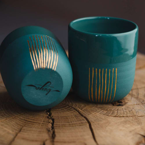 Cups by Boya Porcelain seen at Creator's Studio, Beograd - Petra cup, semi-glazed, stained porcelain with gold