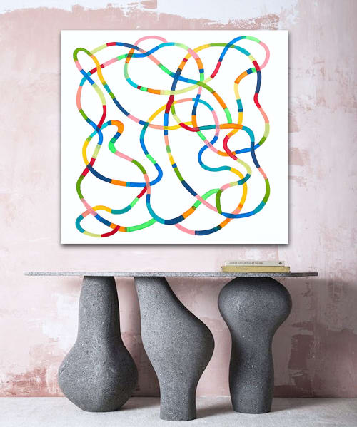 Paintings by Linnea Heide contemporary fine art seen at Private Residence - 'PLAYGROUND' original abstract painting by Linnea Heide
