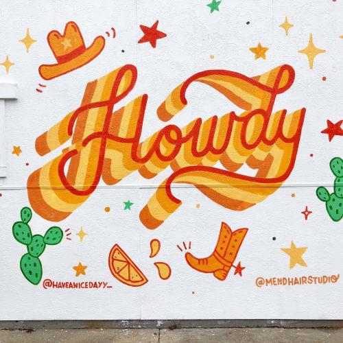 Murals by Steffi Lynn seen at Mend Hair Studio, Fort Worth - Howdy Mural