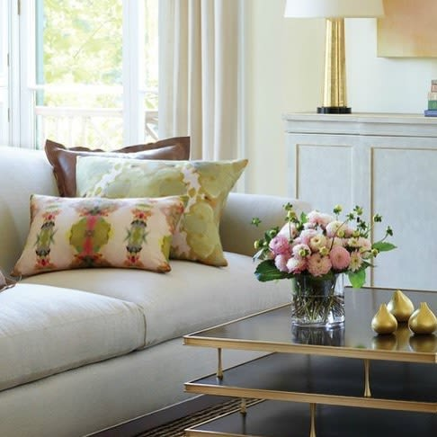 Pillows by Laura Park Designs seen at Private Residence, Charlotte - Under the Sea Pink lumbar  and Under the Sea Taupe pillow