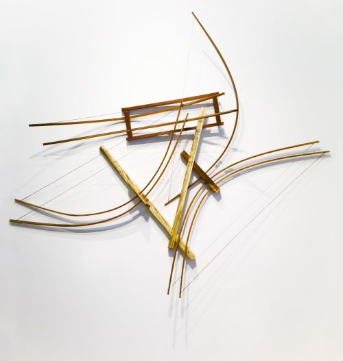 Sculptures by Oliver Clark - We Are Clark Studios seen at Private Residence, Kansas City - Icarus #5 Wooden Curvilinear Abstract Sculpture