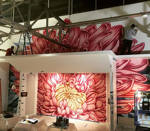 Murals by Bobby MaGee Lopez at Davis Partnership, Denver - Chrystal Anthemum