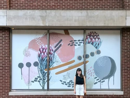 Murals by Tess Erlenborn seen at AT&T Building, Nashville - 2nd Ave Art Wall