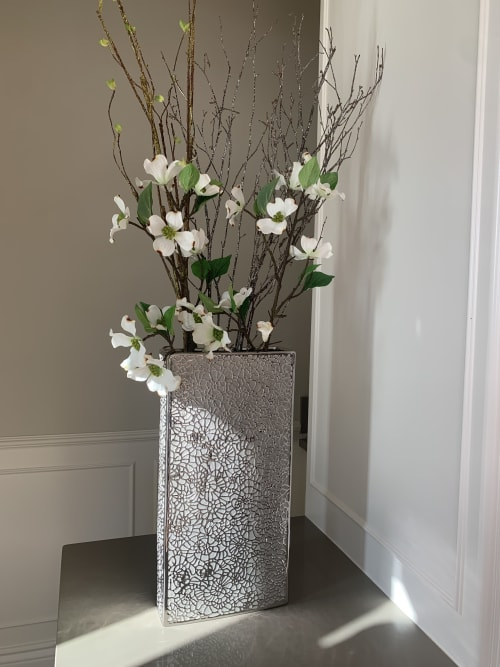 Floral Arrangements by Fleurina Designs seen at Private Residence, Los Gatos - Floral Arrangement In Lace Vase