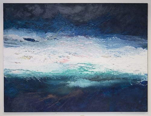 Paintings by Paul Seftel seen at PAUL SEFTEL STUDIO, Pacific Grove - The Great Wave. Monumental Ocean inspired mixed media painting