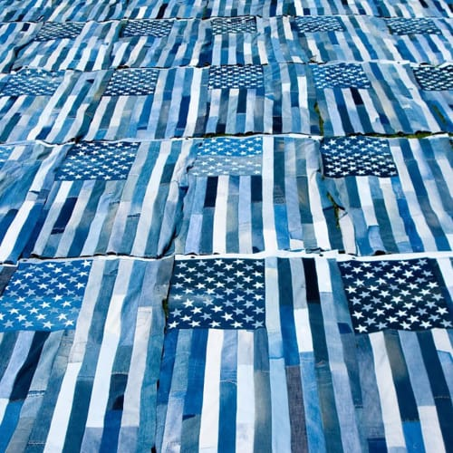 Wall Hangings by ANTLRE - Hannah Sitzer seen at San Francisco, San Francisco - Denim Flags
