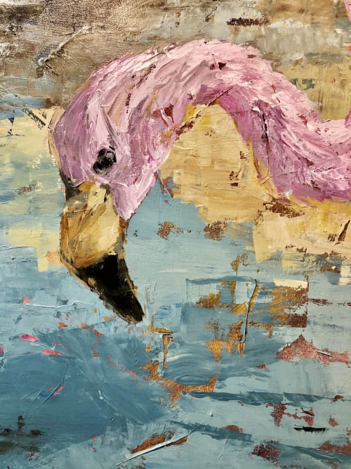 Paintings by Laura Palermo seen at Marker 23 Art Gallery, Stuart - Andean Flamingo