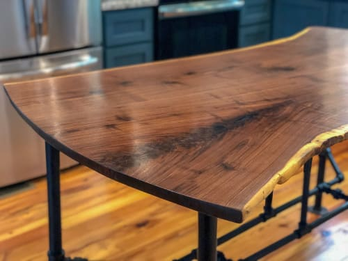Tables by Sallie Plumley Studio seen at Private Residence, Richmond - Bookmatched Walnut Kitchen Island