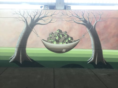 Murals by Tony Zellaha Art seen at 47th Ave & York St, Denver - This Town is Relaxed