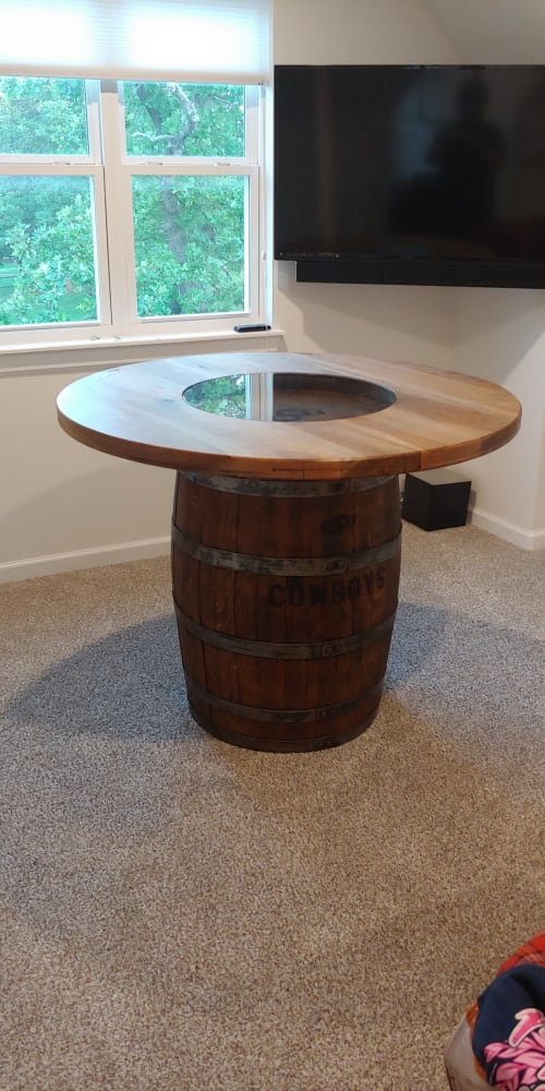 Tables by My Honey's Handmade seen at Private Residence, Tulsa - Barrel Table with Glass Insert
