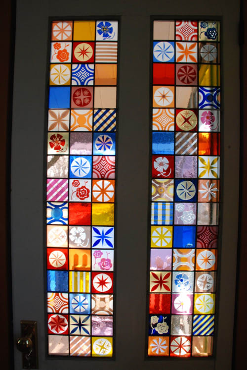 Sandblasted stained glass door panels. | Art & Wall Decor by Kate Gakenheimer Stained Glass