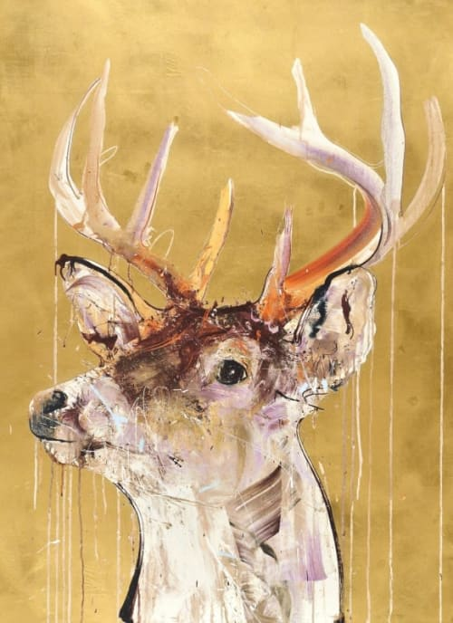 Paintings by Dave White seen at Private Residence, New York - Gold Leaf Stag