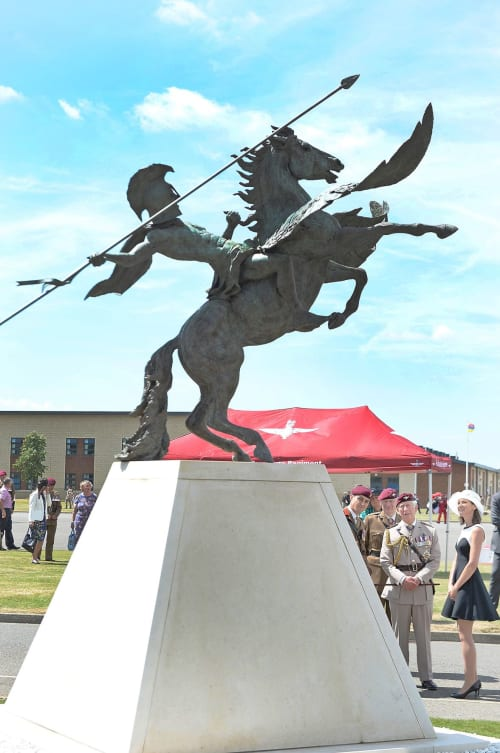 Public Sculptures by Amy Goodman. Sculptor & Portrait Artist seen at Merville Barracks, Colchester - 'The Slayer of Belleros' Amy Goodman's interpretation of Pegasus & Bellerophon