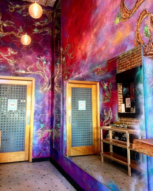 Murals by norm4eva seen at Curb Appeal Salon and Spa, Omaha - Galaxy-like Mural