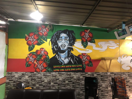 Murals by Empire Mural seen at Kelantan - Mural Bob Marley Concept at KLV Bistro