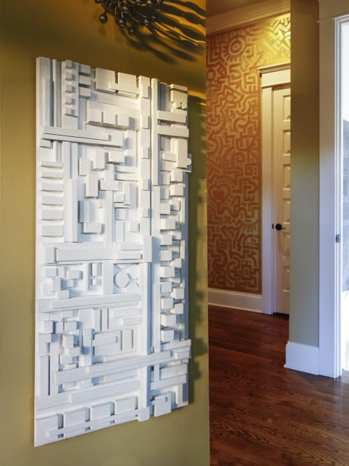"""Sculptures by Modern Art Woodworks at Private Residence, Nashville - No. 016 """"URBAN ABSTRACTION #2"""""""