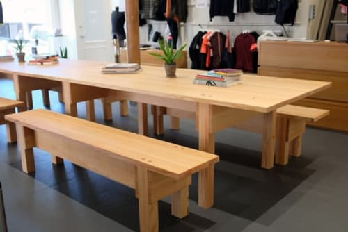 Tables by Hagerman Works seen at Rapha San Francisco, San Francisco - Custom Tables with Benches