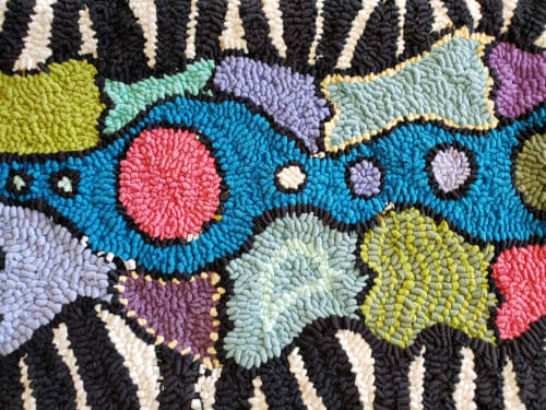 Rugs by High on Hooking seen at Albuquerque, Albuquerque - Carnivale, Zebra Style Table Runner/Bench Cover/Wall Hanging