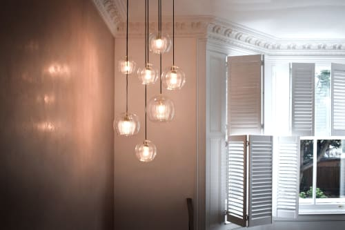 Pendants by Marc Wood Studio seen at Private Residence, London - Pleated Crystal Pendant