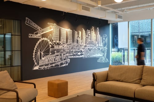 Murals by Just Sketch seen at Funan Showsuite, Singapore - Adyen office