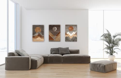Wall Hangings by Craig Forget seen at Private Residence, Charlton - Triptych, Blood Moon, Sunny Mountains, Waxing Crescent