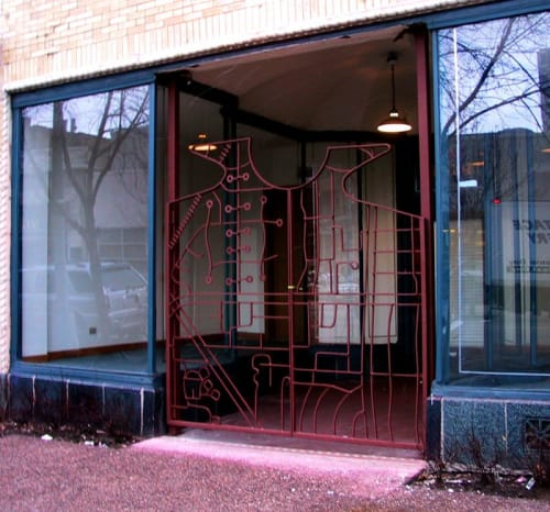 Sculptures by John T Unger seen at 4022 N Sheridan Rd, Chicago - City Gates