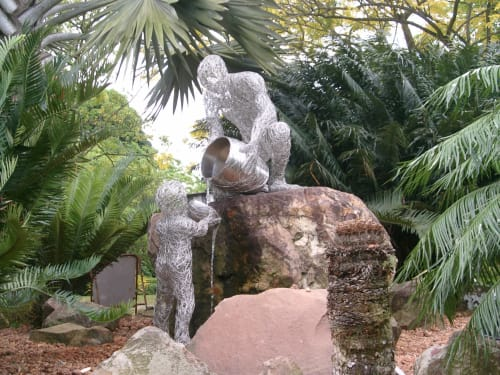 Public Sculptures by Victor Tan seen at Botanic Gardens Nassim Gate, Singapore - Four Way Test