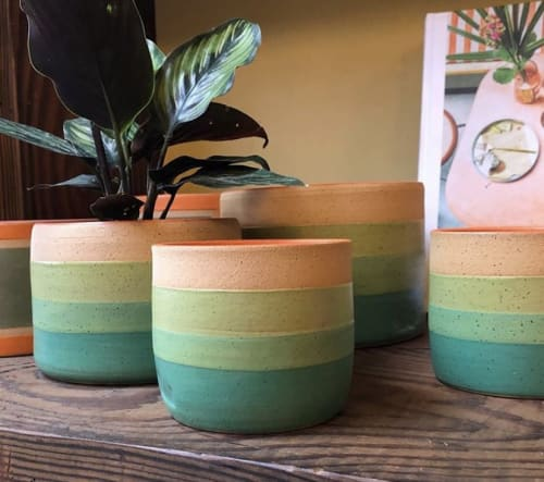 Vases & Vessels by Mineral Ceramics seen at Flowerland Nursery, Albany - Green Sunset Planter