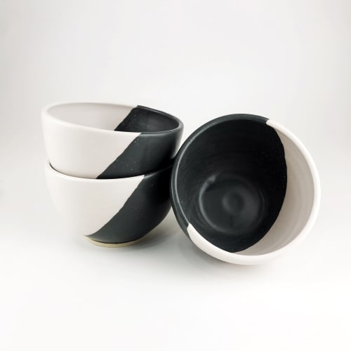 """Tableware by Little Fire Ceramics seen at Private Residence, Chicago - 5"""" Cereal Bowls in Eclipse"""