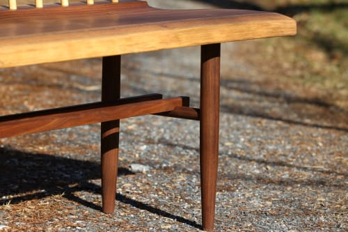 Benches & Ottomans by Miikana Woodworking seen at Miikana Woodworking, Downingtown - Nakashima Inspired Spindle Back Bench