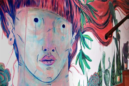 Murals by Laura Bustos seen at Madrid, Madrid - Mural in vegan restaurant