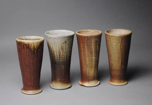 Cups by John McCoy Pottery seen at Private Residence, Newfane - Tumblers Set of Four Wood Fired