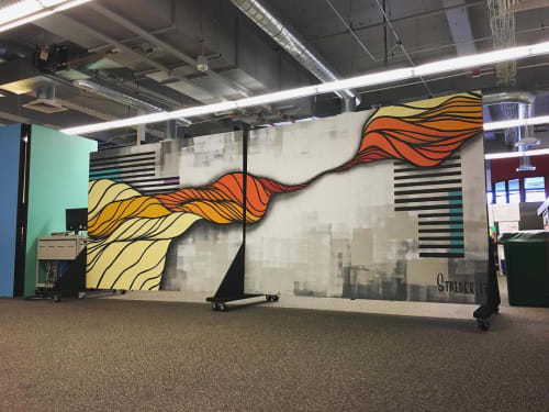 Murals by Strider Patton seen at Intersection for the Arts, San Francisco - Indoor Mural