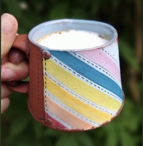 Cups by Becca Headline Ceramics seen at Private Residence, Seattle - Rainbow Mug