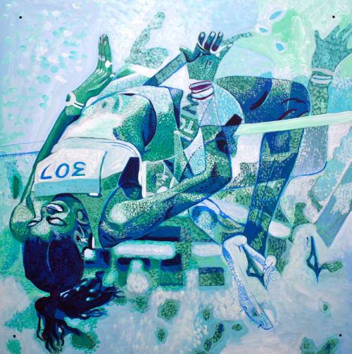 Murals by Sarah Collard of Collard Creations seen at 31 Rue Wellington S, Sherbrooke - National Sports Mural