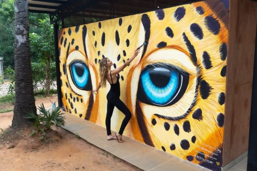 Murals by Ekaterina Sky Art seen at Visitor's Centre, Auroville - Leopard Mural