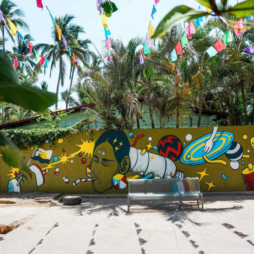 Street Murals by Pogo seen at Sayulita, Sayulita - Illuminated by the ocean