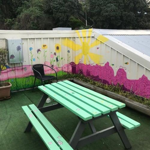 Murals by Haley Linnet seen at Trek Global Backpackers, Wellington - Mural