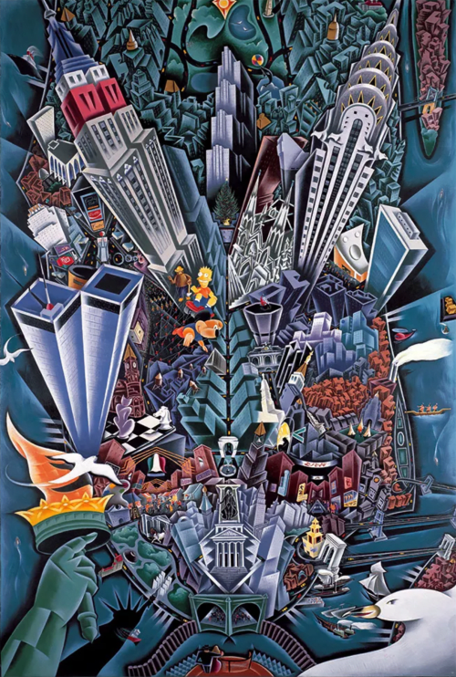 Murals by Arnie Charnick seen at Hotel Edison, New York - Big Apple Birdseye
