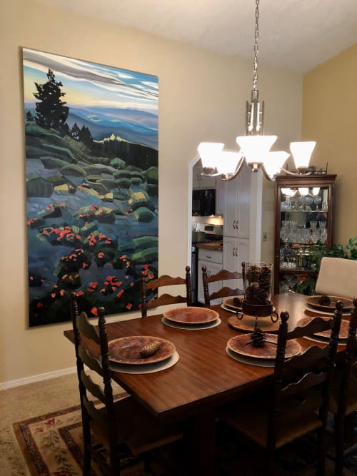 Paintings by Rachel Teannalach seen at Private Residence, Boise - Portal - Summer Solstice on Shafer's Butte 88x48