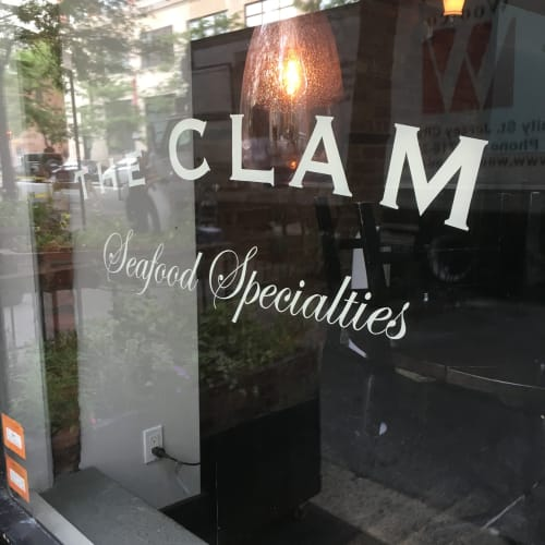 Signage by Need Signs Will Paint seen at The Clam, New York - Hand painted window signs