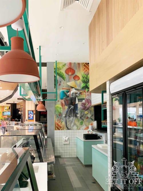 Murals by Set It Off Murals seen at Westfield Fountain Gate, Narre Warren - Shopping Centre Restaurant Feature Wall