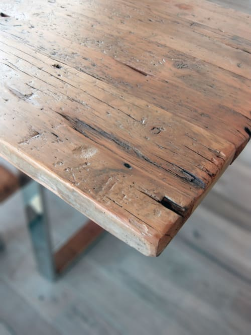 Tables by Abodeacious seen at Private Residence, Lake Geneva - Rustic wood table and benches
